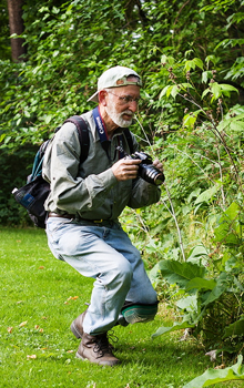 Jeff Zablow photographing butterflies, Frick Park, Pittsburgh, PA
