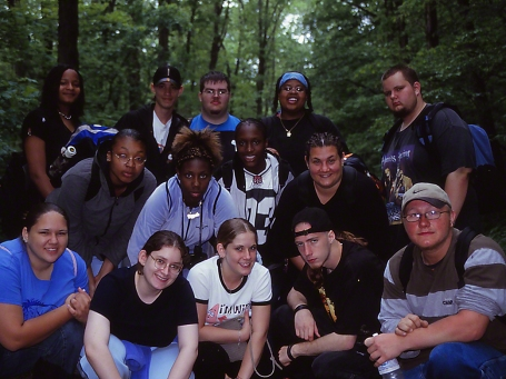Pittsburgh South Vo-Tech public school field trip participants - May 2004, photographed by Jeff Zablow in Raccoon Creek State Park, PA