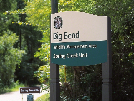 Sign = Big Bend, Spring Creek Unit photographed by Jeff Zablow in Big Bend Wildlife Management Area, Florida's Panhandle