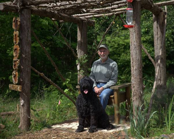 Georgia Butterflies & Blooms in the Briar Patch habitat friend, Jeff Zablow and his happy sidekick, Petra taking a moment to enjoy the day. (photo by Virginia C. Linch)