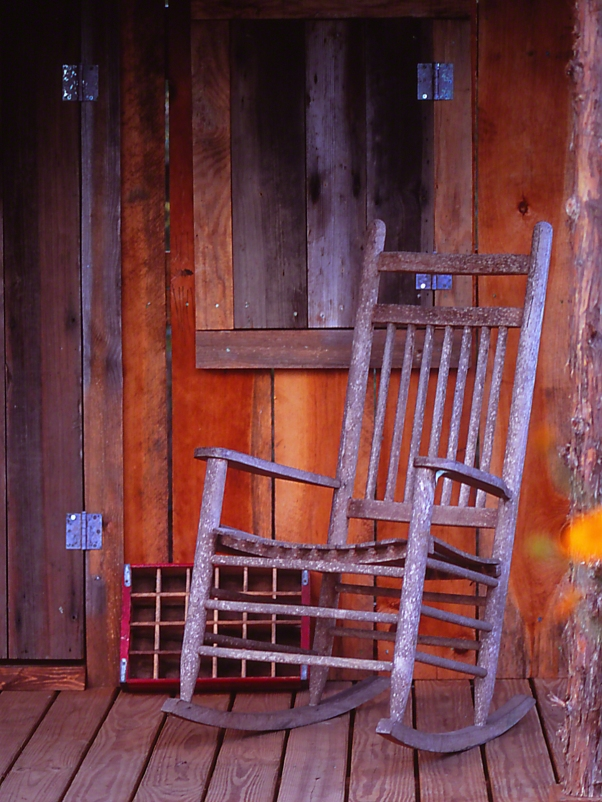 Habitat Porch rocker photographed by Jeff Zablow at the Butterflies and Blooms Habitat in Eatonton, GA
