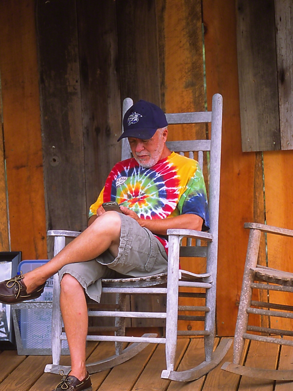 """Stanley L on the porch, photographed by Jeff Zablow at """"Butterflies and Blooms in the Briar Patch,"""" Eatonton, GA Porch"""