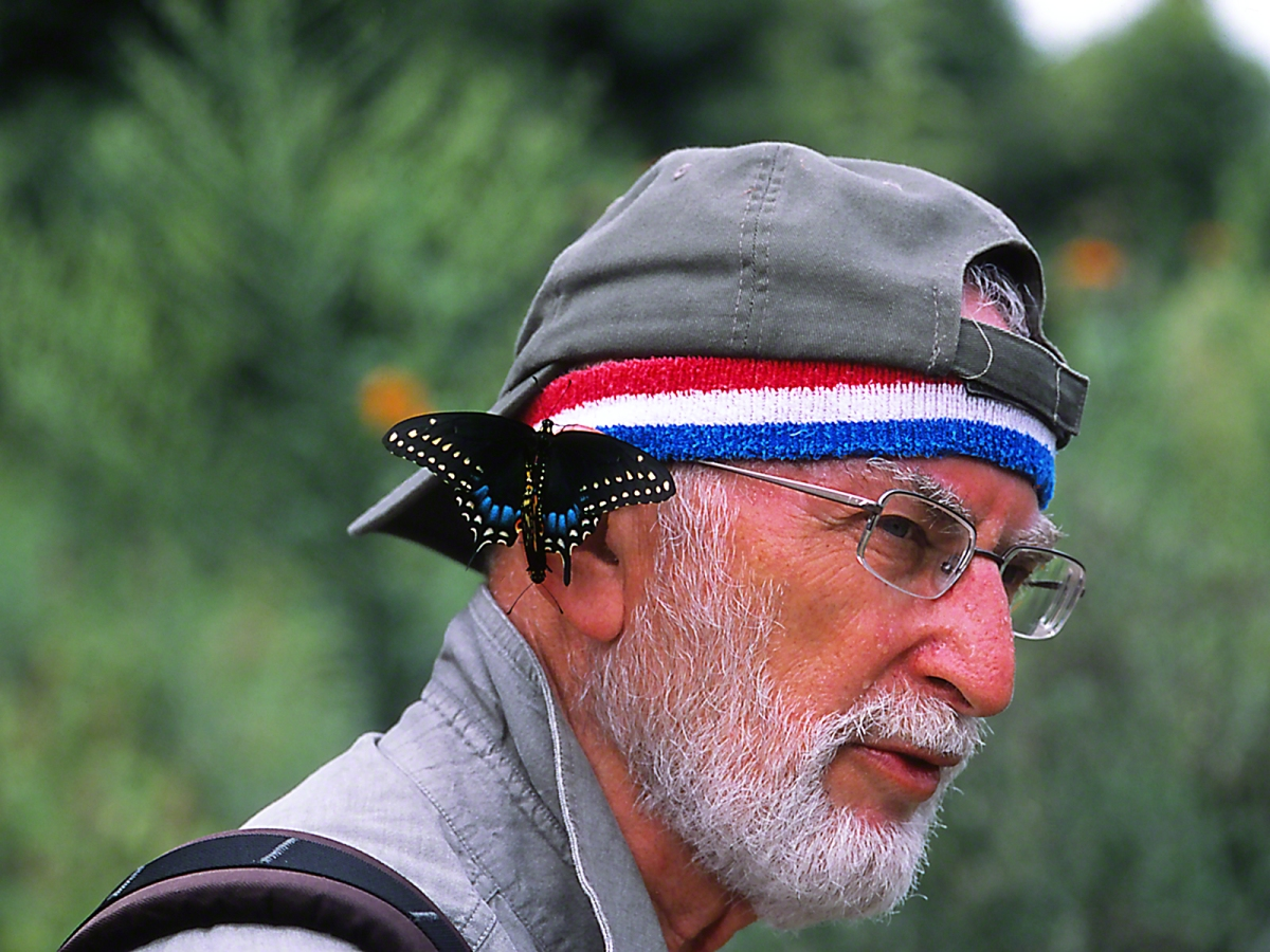 """Earring Series - Jeff with Black Swallowtail Earrings (Best shot), at """"Butterflies and Blooms in the Briar Patch,"""" Eatonton, GA"""