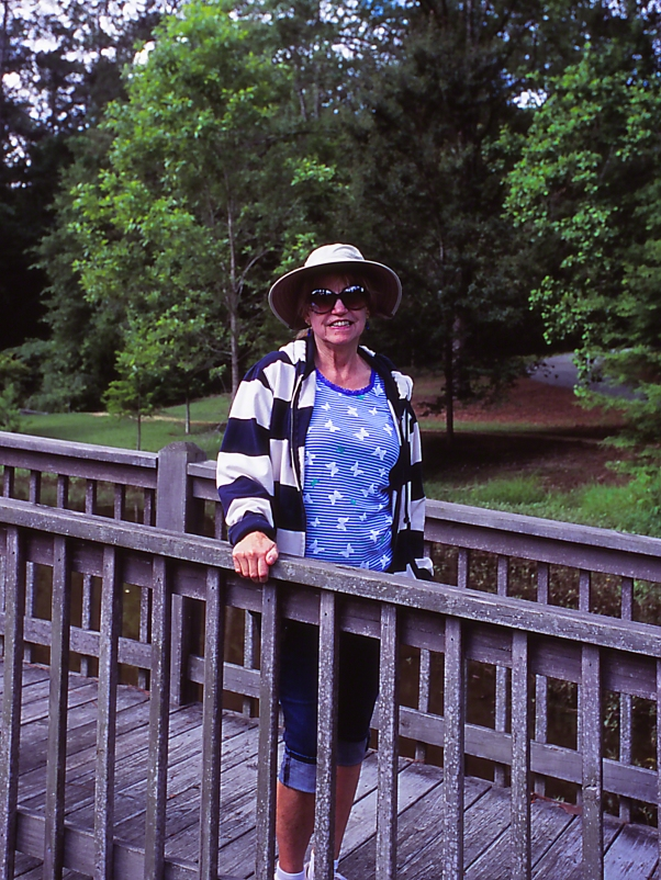 Sylbie Yon on Bridge photographed by Jeff Zablow at Lockerly Botanical Gardens, Millidgeville, Georgia