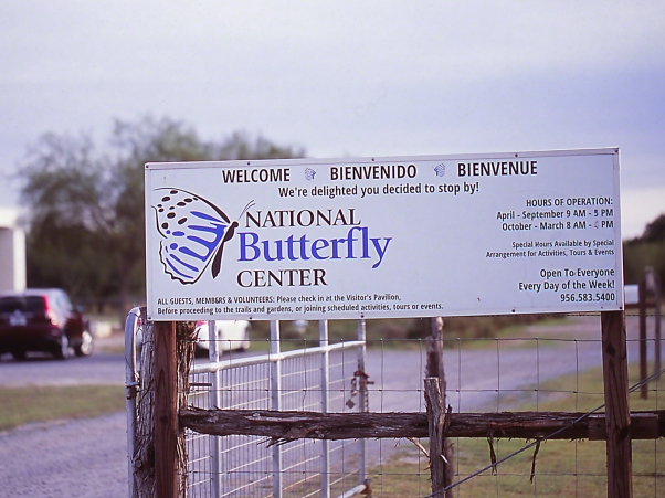 Entrance Sign photographed by Jeff Zablow at the National Butterfly Center, Mission, TX