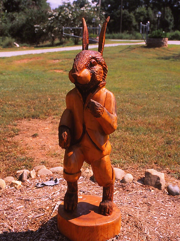 Briar Rabbit statue photographed by Jeff Zablow at Butterflies and Blooms Briar Patch Habitat, Eatonton, GA