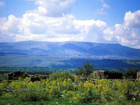 Golan Heights Landscape seen from Yehudiya National Park, photographed by Jeff Zablow at Golan Heights, Israel