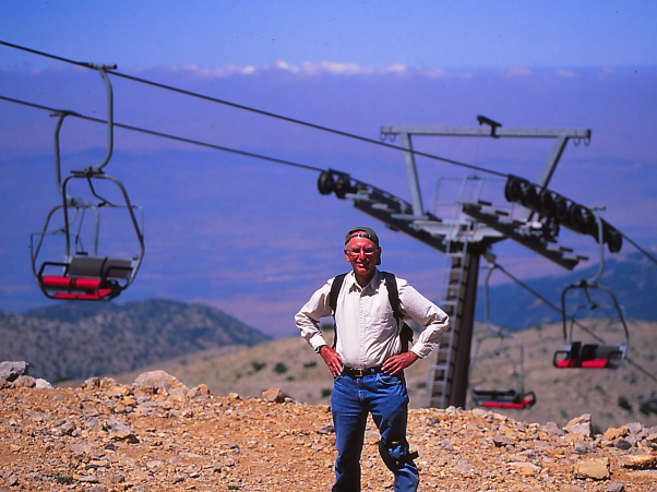 Jeff Zablow at Peak of Mt. Hermon with Chair Lift at Mt. Hermon, Israel